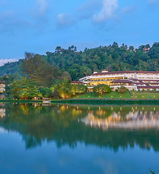 View of Luxury Hotel in Kandy from Lake