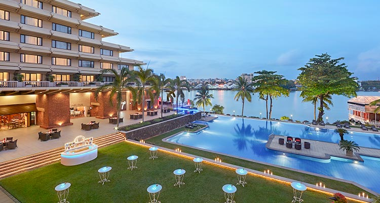 View of Pool Terrace at Luxury Hotel in Colombo